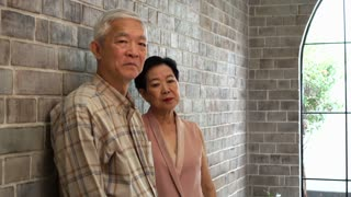 Rich Asian senior couple parent in luxury home