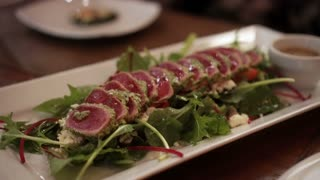 Seared tuna salad with balsamic sauce fusion Japanese food 4k