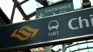 Singapore : 28 Dec 2017 - MRT signages in Singapore China town station. Easy public transportation