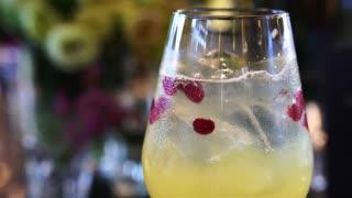 Sparkling cocktail drink serve in luxury bar 4K