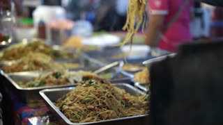 Thai Street Food Fried Noodle in tray