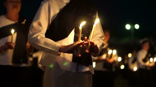 Traditional Thai candle dance at night, Beautiful classic night performance for important event in Thailand