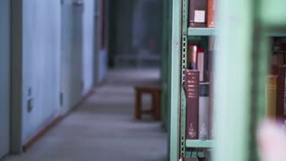 View of Bookshelves in university library