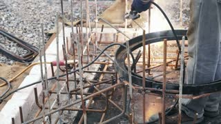 welding metal frame for street manhole structure