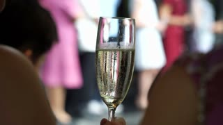 Women hands holding champagne glasses in party