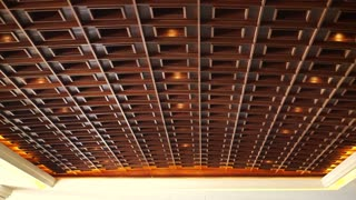 Wood coffered ceilings, recessed panels with lighting