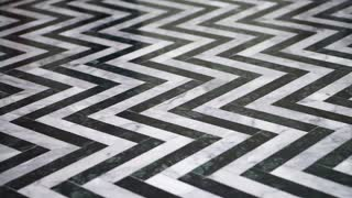 Zigzag black and white marble floor pattern stone