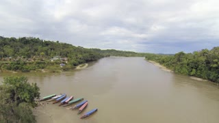 Aerial view of the Rio Napo near the village of Misahualli in the Ecuadorian Amazon