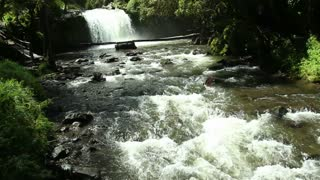 Andean river and waterfall in Ecuador