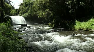 Andean river and waterfall, in the Andes, Ecuador.
