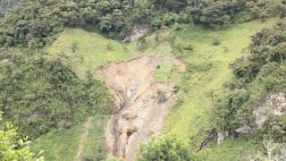Landslide caused by clearing montane rainforest. On the Amazonian slopes of the Andes, Ecuador