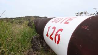 Oil pipeline running along an Andean ridgetop