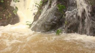 Rainforest river in Western Ecuador swollen after heavy rain