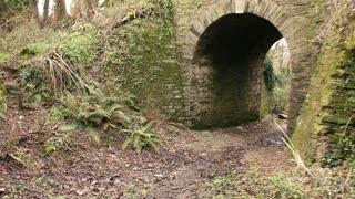 Walking under an old road bridge (steadicam) in Cornwall, UK