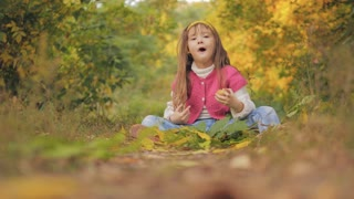 4K Girl Portrait Eating Apple Fruit Autumn Forest View, Child Eats Snack Outdoor