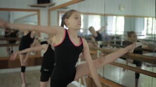 artistic gymnasts warming up at the mirror. Workout in the gym. Rhythmic gymnastics