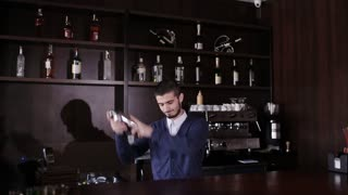 Bartender with shaker making cocktail in modern bar. Handsome barman shake drink.