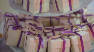beautiful candy boxes with ribbons