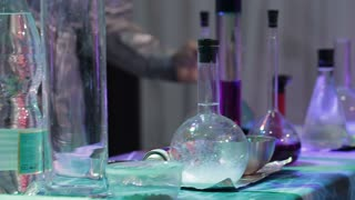 chemical research laboratories. Flasks with liquid