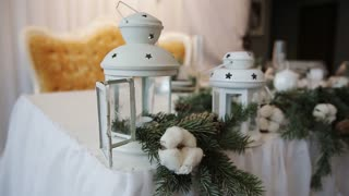 Christmas decorations on table Rustic