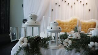Christmas decorations on wedding table Rustic