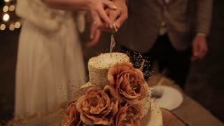couple cut the wedding cake Rustic. Outdoor