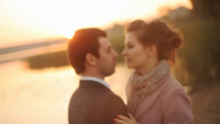 couple romantic in love at beach sunset.