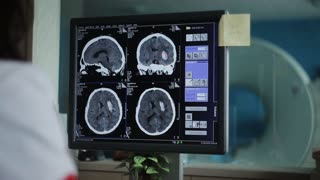 doctor analysis medical imaging on computer monitor screen in the hospital