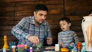 father and son paint colors vase