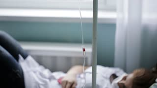 intravenous drip the medicine in a hospital ward