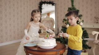 little brother and sister decorate Christmas cake. beautiful children in a spacious and bright room near the Christmas tree