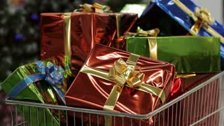 Shopping carts full of Christmas gifts