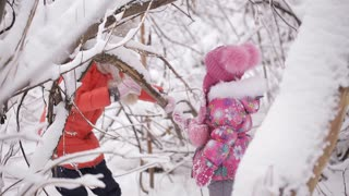 Two little girls walk on a snow-covered forest
