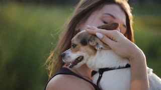 Attractive happy woman carries golden retriever - dog licks her face - friends