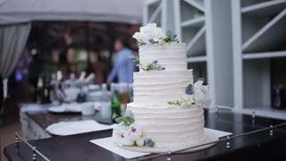 Beautiful wedding cake displayed on table, as guests dance in the background.