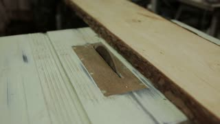 Cutting Wood in Carpenter workshop with Table Circular Saw.