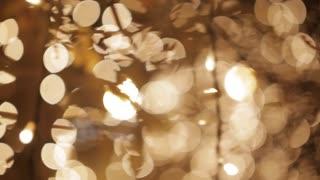 Golden glitter bokeh lights, Out of focus background
