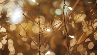 Golden glitter bokeh lights, Out of focus background