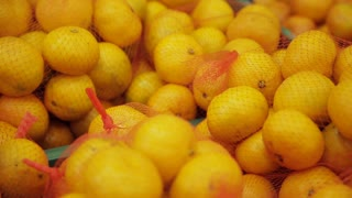 Many fruits mandarins and grapefruits lying in boxes in supermarket