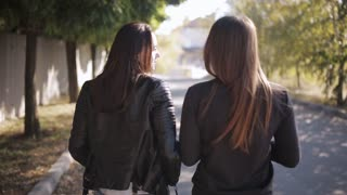 Two beautiful long hair women walking in blooming spring park and discussing latest gossip, back view. Cute diverse girls talking while take a stroll in park in springtime.