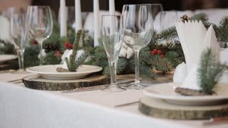 Wedding candles on the table Rustic table setting