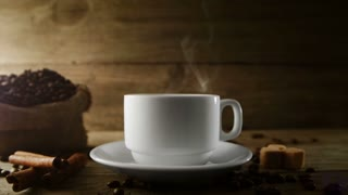 3d model of a cup of coffee on a background coffee beans. 4k video