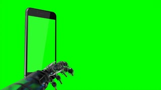 4K video. Smartphone and robotics arm with Green background. Easy customizable green screen. Computer generated image.
