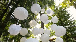 Beautiful decor for a party of white paper Chinese lanterns hanging in a tree.