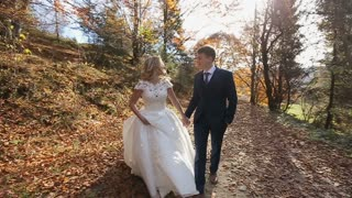 Charming wedding couple walking in the beautiful autumn forest