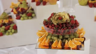 Decorative Fruit Sliced on the Buffet Table at a Wedding