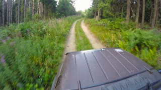 Extreme driving through bad road in the mountains, Off-road driving up a rocky cobblestone road, Mountain forest ride, sun flare. Fun outdoor recreation. Filmed in Carpathian mountains