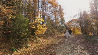 Happy bride and groom walking in the beautiful autumn forest