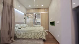 Home interior walk through bedroom.modern apartment