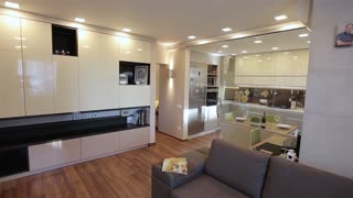 Home interior walk through living room warehouse conversion empty space modern apartment